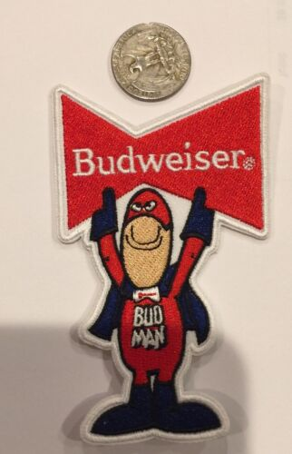"""BUDWEISER /"""" BUD MAN /"""" EMBROIDERED IRON ON PATCH 4 X 2.5/"""" NICE"""