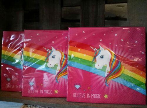60 x unicornio rosa arco iris princesa cumpleaños servilletas servilletas