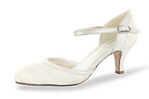 new concept dbed9 5e0fd Details zu Brautschuhe White Lady 800 echt Leder Spitze Riemchen bequem  creme ivory NEU