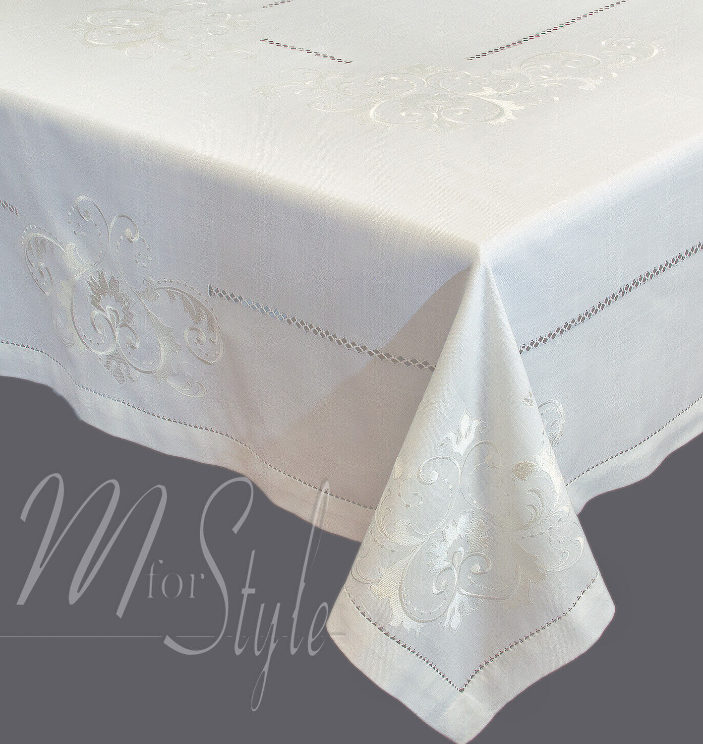 Embroidered Large Tablecloth Cream Amazing Quality Rectangular Oblong