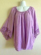 Melissa Paige Peasant Top Blouse Tunic Shirt Boho Purple Crochet XL X-Large #PY5