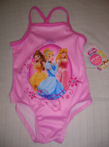 NEW-Infant-Girls-TODDLER-pink-Disney-Princesses-one-piece-swimsuit-T4