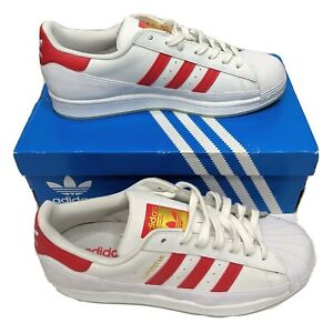 Details about Adidas Originals Superstar MG Mens US 8 UK 7.5 White Red Shoes Sneakers FV3031