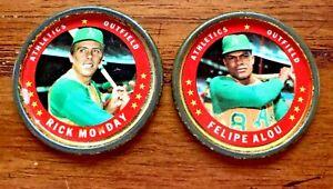 1971 Topps COINS #8 Felipe Alou and #40 Rick Monday - A's