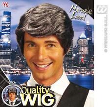 Dark Grey Male Wig Side Parting Wavy Silver Fox Fancy Dress