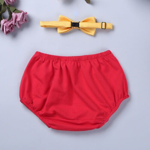 Baby Boys 1st Birthday Cake Smash Bloomer Shorts Bowtie Photo Props Outfit Set