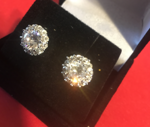 Cluster 2CT Round Simulated Moissanite 14K White Gold Pave Stud Earrings