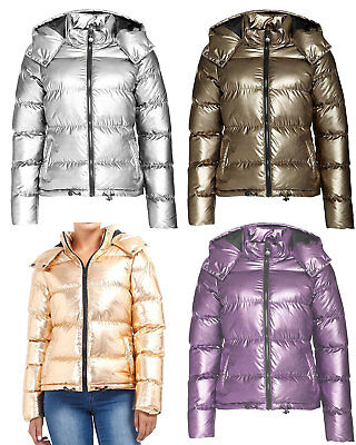 Womens Metallic Sliver Gold Puffer Padded Hooded Parka Winter Coat Jacket