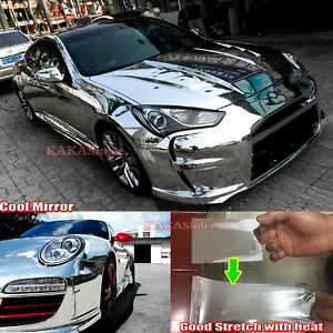 Car Glossy Mirror Chrome Vinyl Wrap Sticker Super Soft Stretchable Green CF