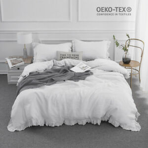 Simple-amp-Opulence-100-Stone-Washed-Linen-White-Frill-Floral-Flax-Duvet-Cover-Set
