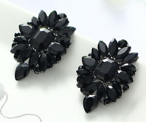 1-Pair-Elegant-Black-Crystal-Rhinestone-Ear-Drop-Dangle-Stud-long-Earrings-163