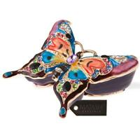 Hand Painted Butterfly In Flight Ornament W/24k Gold & Crystals By Matashi on sale