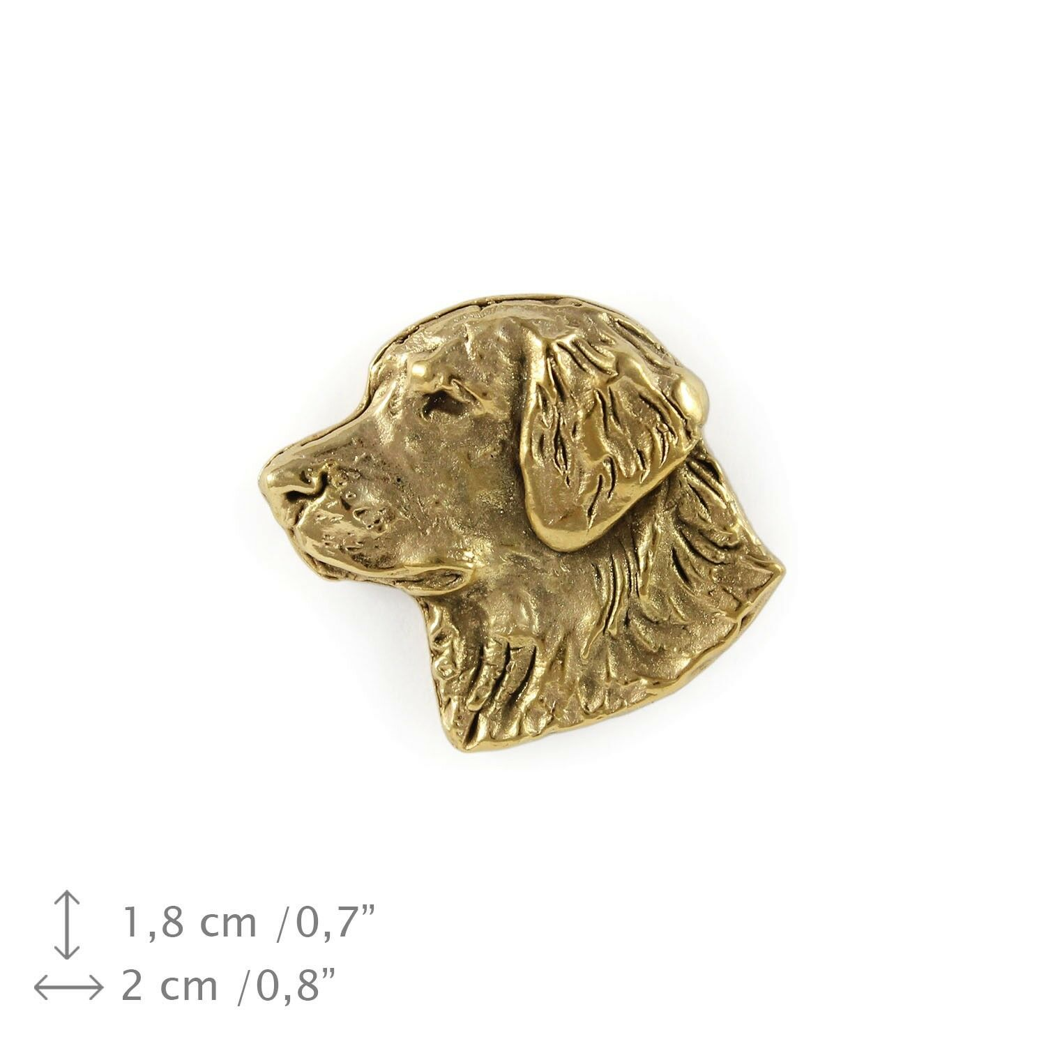 golden Retriever type 2 - dog, gold covered pin with dog, high quality, Art Dog