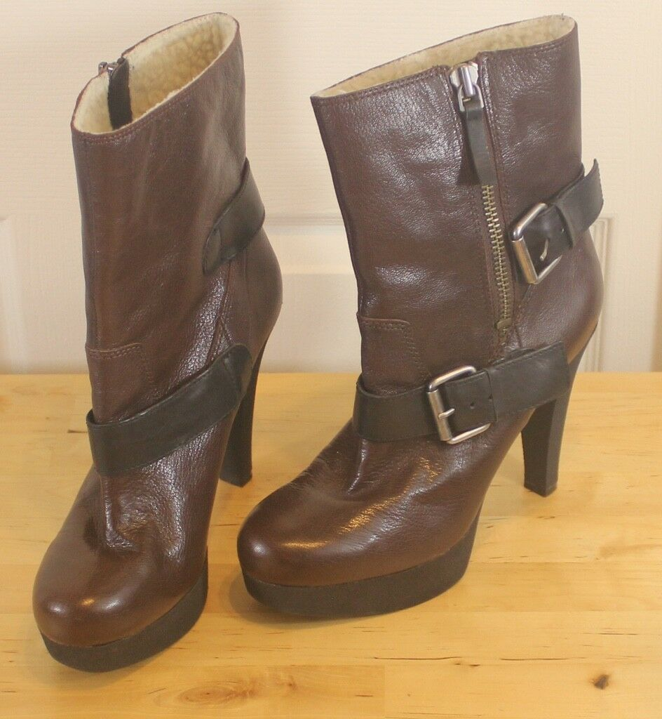 Nine West ireesh en cuir marron noir boucle plateforme talon doublée en polaire bottes 9 M