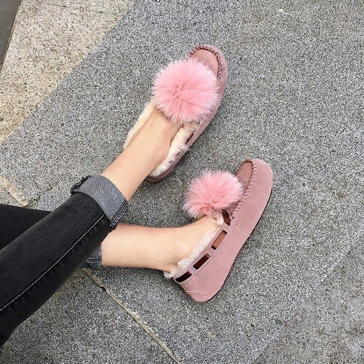 Mujer Cuero Moda Invierno Pompón de de de Piel de Cordero antideslizante en mocasines Tribunal Zapatos xunli  mejor vendido