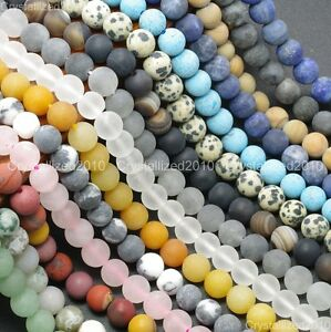 Natural-Matte-Frosted-Gemstone-Round-Loose-Beads-4mm-6mm-8mm-10mm-12mm-15-039-039-Pick