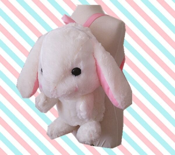 New So Cute  Lop-ear Rabbit  Backpack School Bag Lolita Plush Toy Suit for Girls