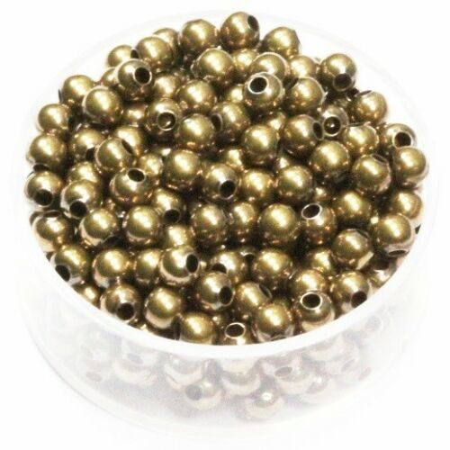 USA 4 MM Vintage Brass Round Seamless Hollow Beads Hole 1.5 MM Pkg.100  Natural