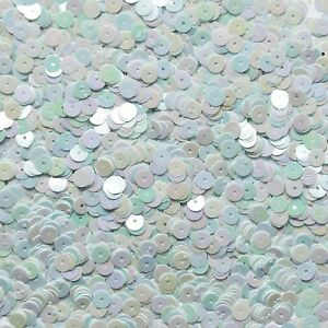 6mm Flat Loose Sequin Paillette Crystal White Rainbow Semi Frost Made in USA