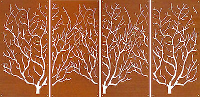 DECORATIVE METAL SCREENS CORTEN LASER CUT GARDEN SCREEN - D36 4 Screen Set 1.6mm