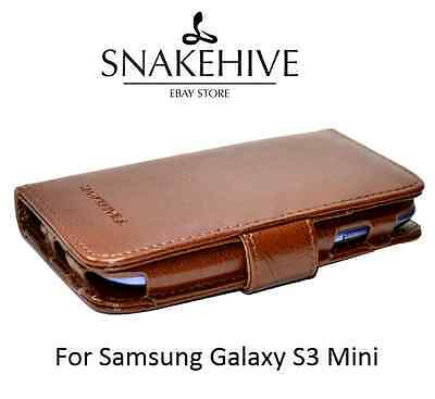 SNAKEHIVE® Premium Leather Tan Wallet Flip Case Cover for Samsung Galaxy S3 Mini