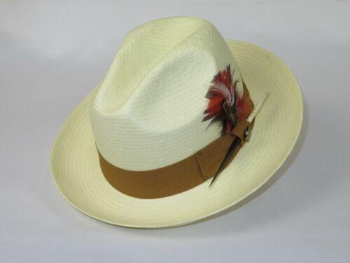 Men Summer Straw Hat BRUNO CAPELO Pinch Front Fedora Snap Brim ST951 Natural New