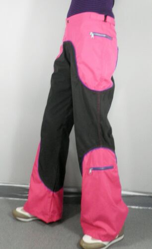 Vintage Rave Dark Grey /& Hot Pink Flared Trousers   Size L  W34  Cosplay Psy