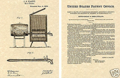 US Patent for the BEER COOLER 1879 Art Print READY TO FRAME!!!! Vintage brew tap