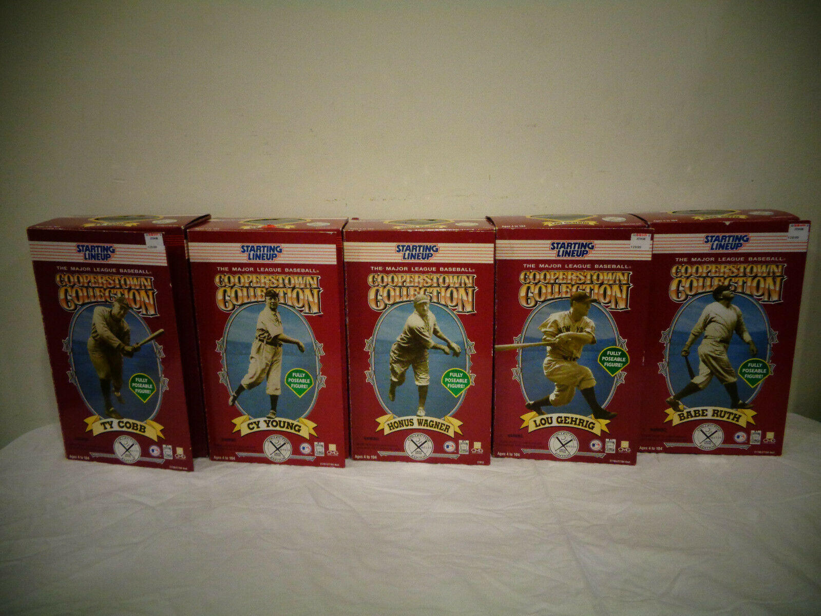1996 STARTING LINEUP COOPERSTOWN COLLECTION FIGURES SEALED TY CY LOU BABE HONUS