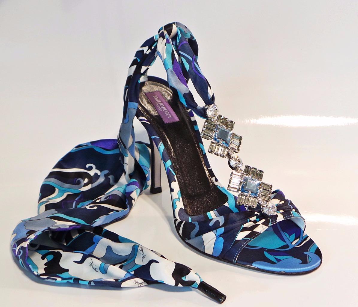 EMILIO PUCCI Blau Print Satin Satin Satin Ankle Wrap Jeweled Sandal Heel schuhe 39.5 NIB b10721