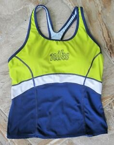 Nike-Swim-Womens-Sz-10-Tankini-Top-Padded-Bra-Racer-Back-Navy-Blue-Lime-amp-White
