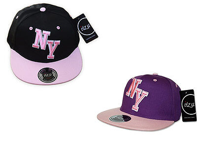 Itzu Youth Kids Unisex New York Ny Blocco Cappellino Cappello Snap Back Nero Rosa-mostra Il Titolo Originale