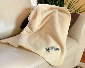 Music-Notes-Fleece-Blanket-50-034-x-60-034-Ivory-Cream-with-black-musical-notes