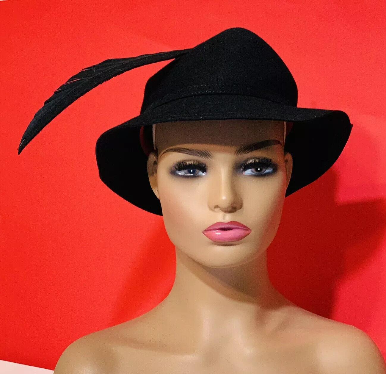 De Colección Adolfo II para mujer Sombrero negro con pluma Derby Iglesia Tea Party