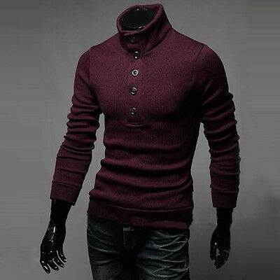 Fashion Casual Mens Slim Fit Pullover Cardigan Sweater Coats Turtleneck Knitwear