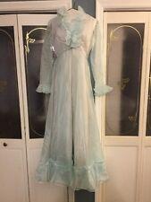 "Vintage ""Emma Domb California"" ILGWU Sheer Blue Chifon Ruffle Deep V-Neck Dress"