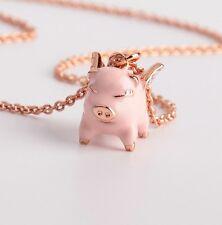 KATE SPADE Pink Multi Imagination Flying Pig Pendant Necklace w/ KS Dust Bag NEW