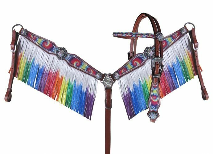 NEW  Showman Rainbow tie dye headstall and breast collar set with tie dye fringe
