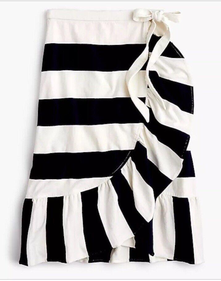 New J Crew Petite Rugby Knit Wrap Skirt Navy Ivory Sz PXXS J2003