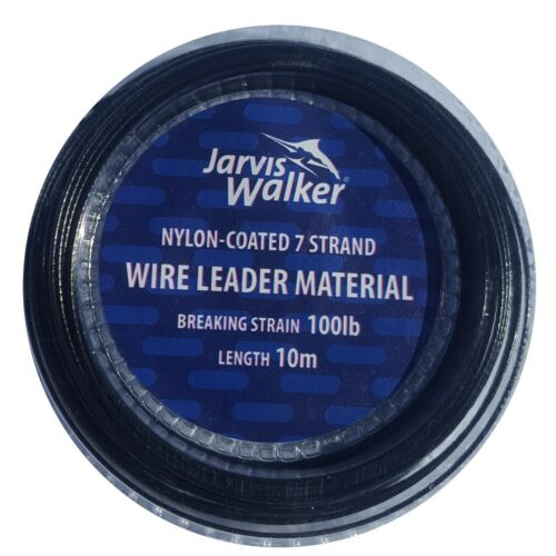 Jarvis Walker nylon coated trace Wire 60lb 100lb Sea Pike Fishing 10 free crimps