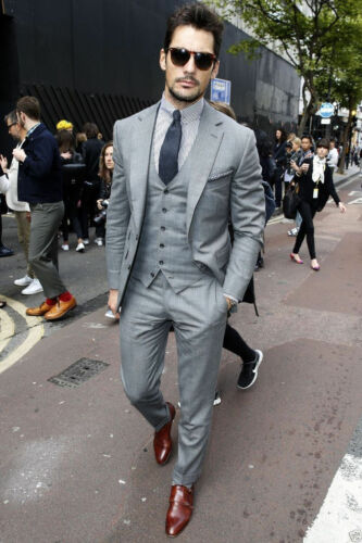 Grid Men Gray Formal 3 Piece Slim Fit Check Retro Suit Prom Wedding Suit Custom