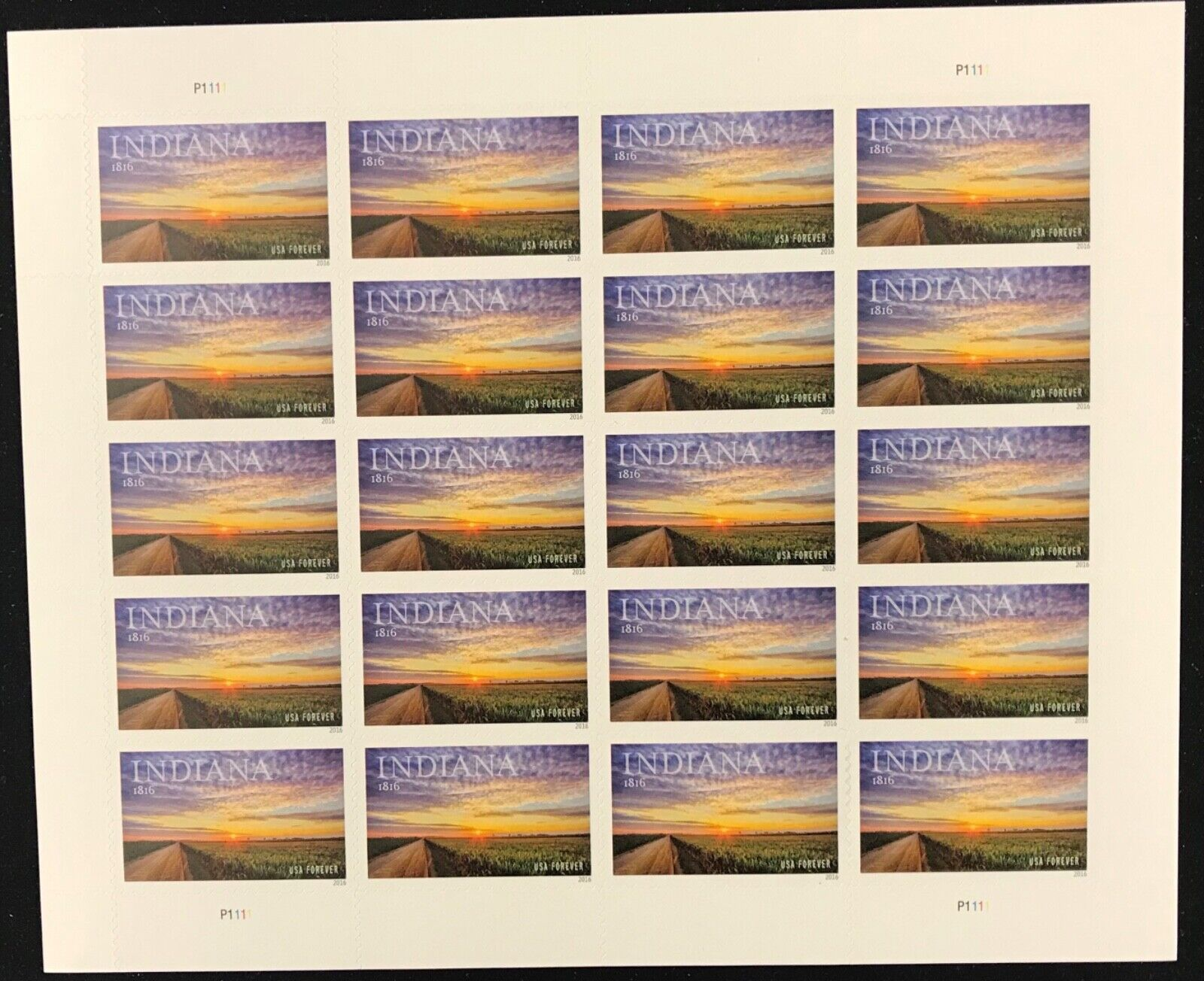 5091  Indiana Statehood    MNH Forever sheet of 20      FV $11.00    Issued 2016