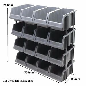 Set Of 16 Stakabin Freestanding Plastic Parts Storage Containers Bins Box Boxes