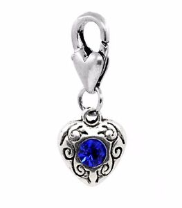 Blue-Rhinestone-September-Birthstone-Heart-Clip-On-Dangle-Charm-for-Bracelets