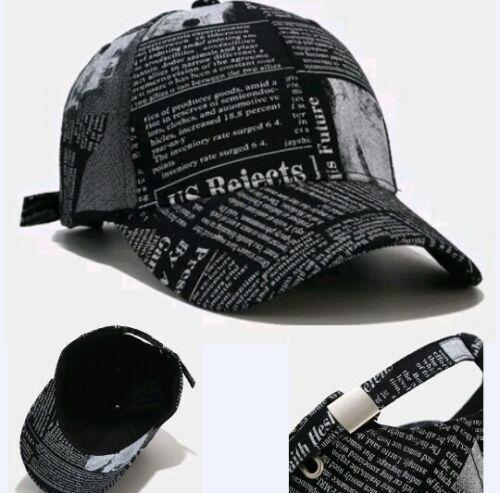 MEN BASEBALL CAP NEWSPAPER pattern Words Design Hiphop Travel Black Women HAT