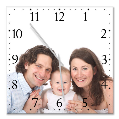 LARGE SIZE 44cm x 44cm photo printed square wall clock PERSONALIZED GIFT