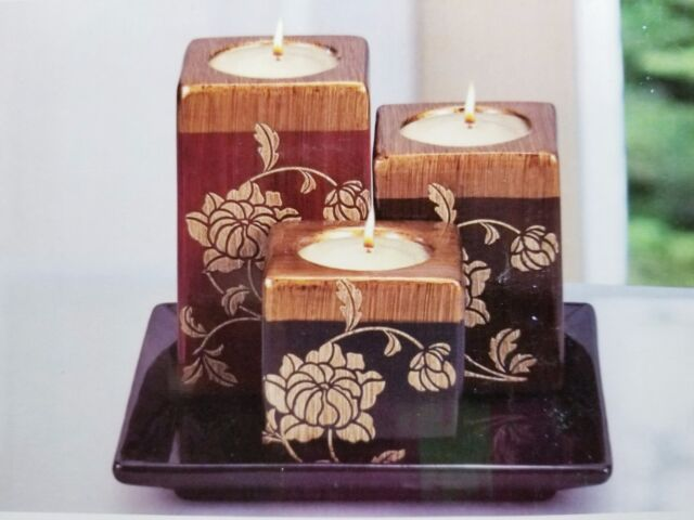 Interiors By Design Ceramic Candle Holders With Plate Ebay