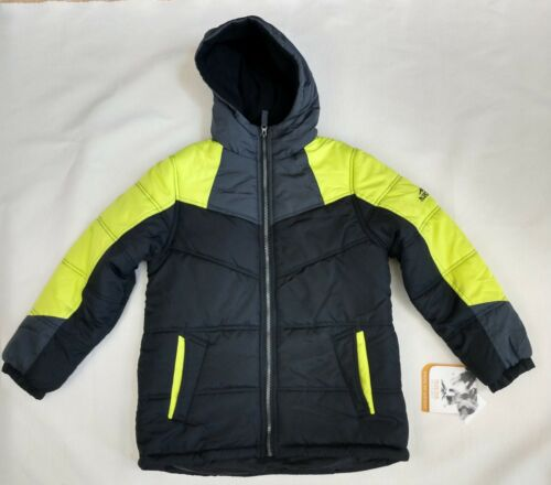 Pacific Trail Boys Jacket Insulated Zip Hood Black Yellow Gray Pockets NEW