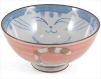 Japanese 4.25d Porcelain Smiling Pink Maneki Neko Cat Rice Bowls, Made In Japan