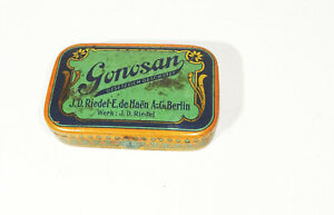 Old Tin Can Gonosan Riedel-E De Haen Berlin Kawa-Kawa Art Nouveau 1910er